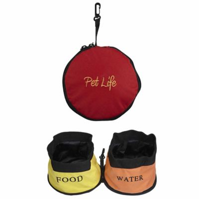 Double Collapsible Travel Water and Food Pet Bowl in Red