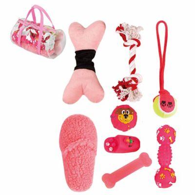 8-Piece Duffel Bag Pet Toy Set in Pink