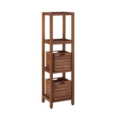 Stained Teak 4-Tier Shelf with 2 Baskets in Brown