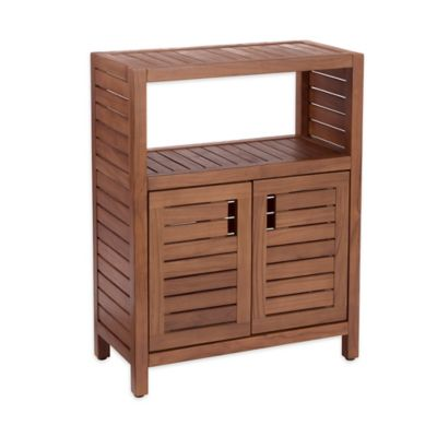 Stained Teak 2-Door Cabinet in Brown