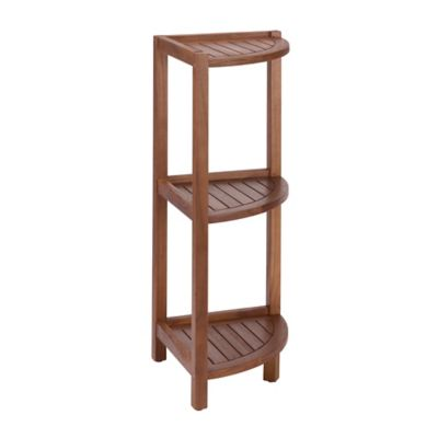 Stained Teak 3-Tier Corner Shelf in Brown