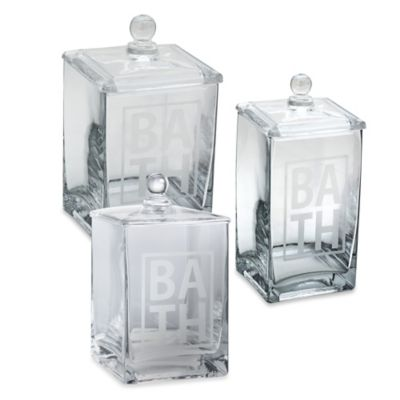 "Taymor® Small Etched ""Bath"" Glass Canister"