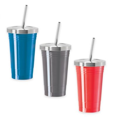 Oggi™ 16 oz. Stainless Steel Tumbler with Stainless Steel Liner and Straw in Silver