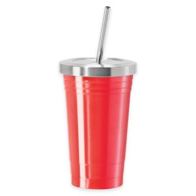 Oggi™ 16 oz. Stainless Steel Tumbler with Stainless Steel Liner and Straw in Red