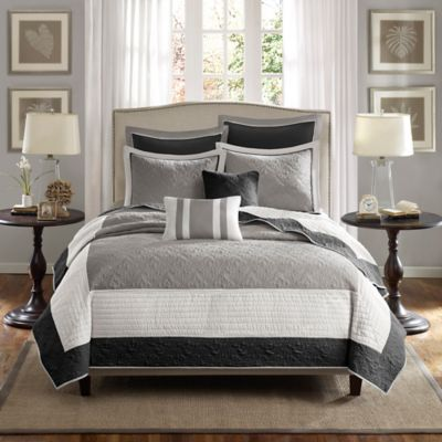 Madison Park Attingham 7-Piece King/California King Coverlet Set in Black/Grey
