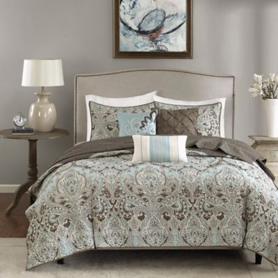 Madison Park Geneva 6-Piece Full/Queen Coverlet Set in Brown