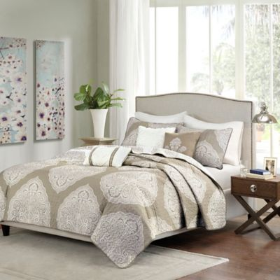 Madison Park Rachel 6-Piece Reversible Quilted Full/Queen Coverlet Set in Taupe
