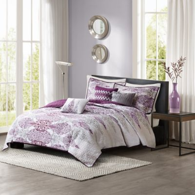 Madison Park Sonali 6-Piece Quilted Full/Queen Coverlet Set in Purple