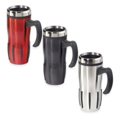 Oggi™ Lustre 16 oz. Multi-Grip Stainless Steel Travel Mug in Silver