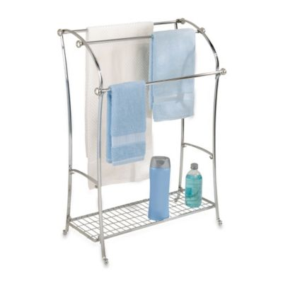 York Lyra Split Finish 3-Rod Towel Stand in Chrome