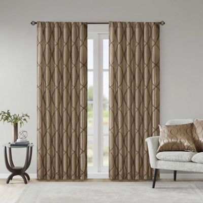 Madison Park Serendipity 84-Inch Window Curtain Panel in Tan