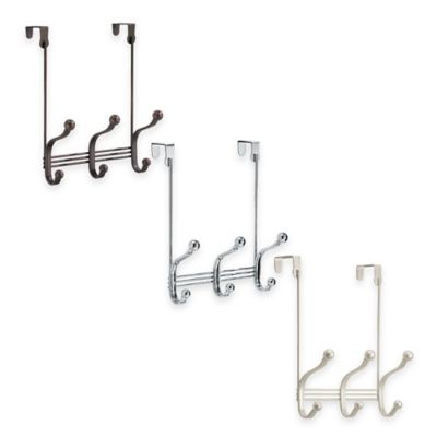 InterDesign® York Lyra Over-the-Door 3-Hook Rack in Satin