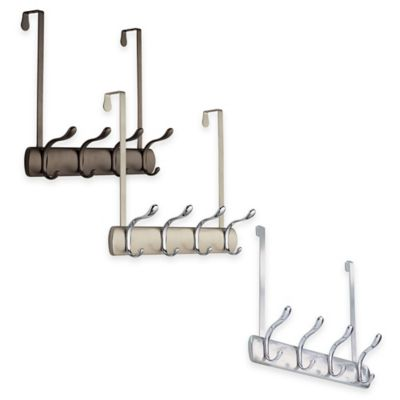 InterDesign® Bruschia Over-the-Door 4-Hook Rack in Brushed Chrome