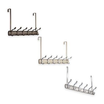 InterDesign® Bruschia Over-the-Door 6-Hook Rack in Brushed Chrome