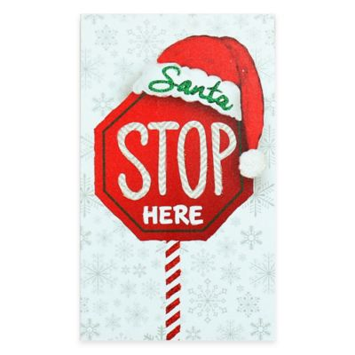 """Santa Stop Here"" Christmas Wood Plaque Wall Art"