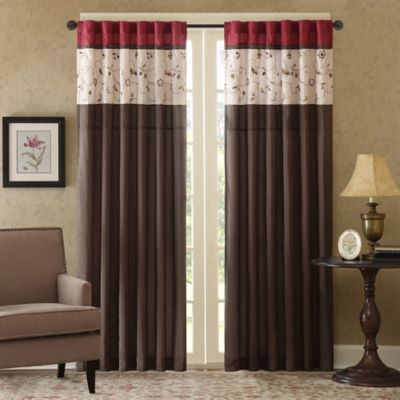 Madison Park Serene 84-Inch Window Curtain Panel in Red