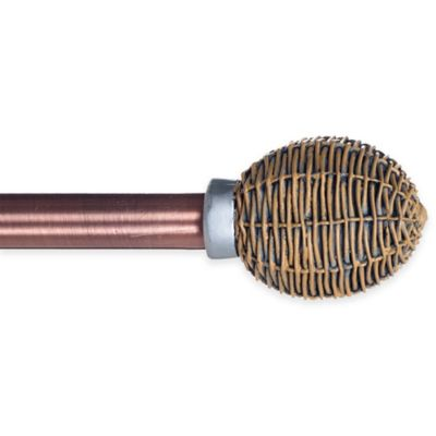 Basketweave 48 to 86-Inch Adjustable Curtain Rod in Copper