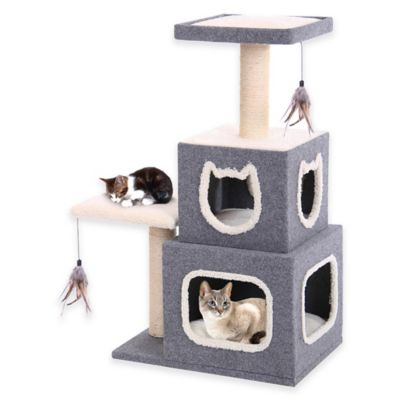 Cat-Life Duplex Cat Lounge with Lounging Tower and Posts in Grey/White