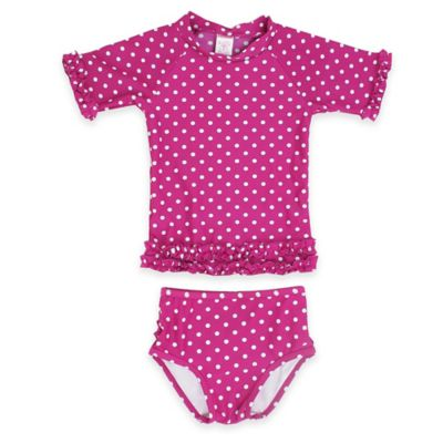Ruffle Butts® Size 4T 2-Piece Polka-Dot Rashguard Swimsuit in Pink