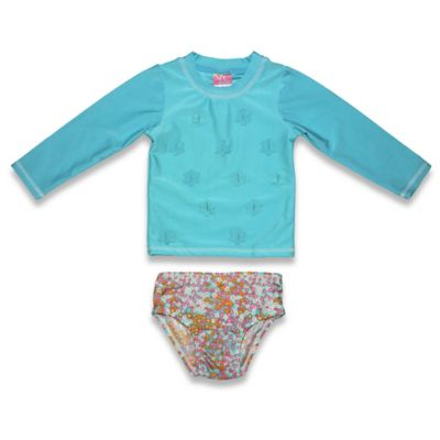 sol swim® Size 3T 2-Piece Floral Long Sleeve Rashguard Set in Teal