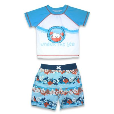 "sol swim® Size 3-6M 2-Piece ""Under the Sea"" Rashguard Set in Light Blue"