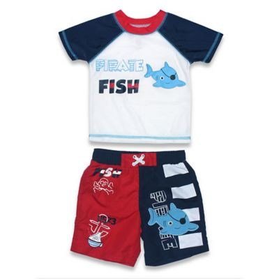 "sol swim® Size 2T 2-Piece ""Pirate Fish"" Rashguard Set in Red/Navy"