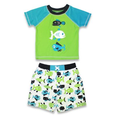sol swim® Size 3-6M 2-Piece Fish Crash Rashguard Set in Green/Blue