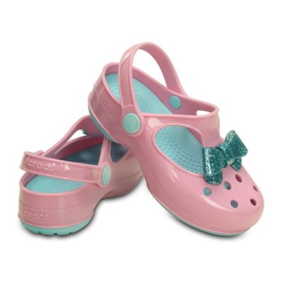 Crocs™ Size 7 Kids' Carlie Glitter Bow Mary Jane in Pink