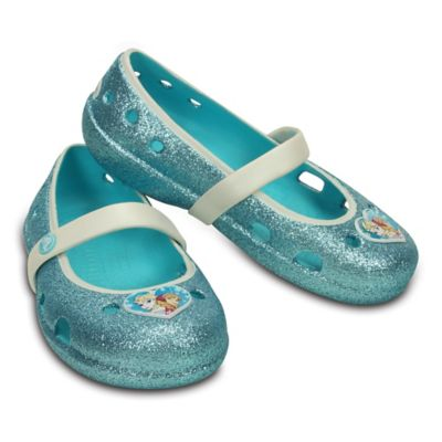 "Crocs™ Size 4 Kids' Keeley ""Frozen"" Flat in Pool Blue"