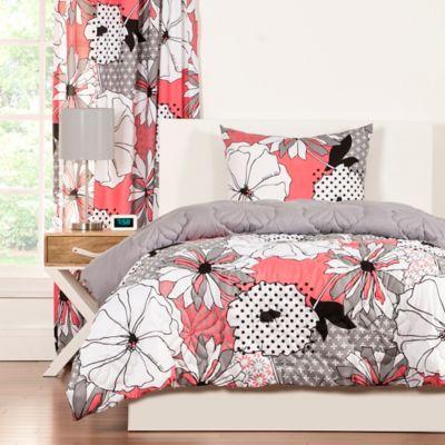 Crayola® Flower Patch 2-Piece Reversible Twin Comforter Set in Pink/Grey