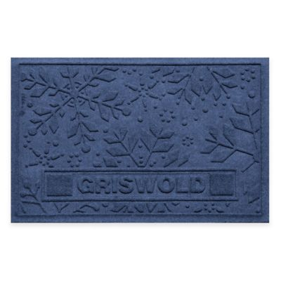 Bungalow Flooring Weather Guard™ 23-Inch x 36-Inch Holiday Snowflake Door Mat in Navy