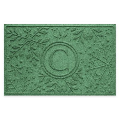 Bungalow Flooring Weather Guard™ Snowflake 23-Inch x 36-Inch Holiday Door Mat in Light Green