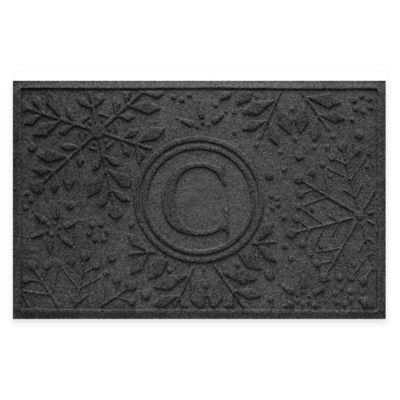 Bungalow Flooring Weather Guard™ Snowflake 23-Inch x 36-Inch Holiday Door Mat in Charcoal