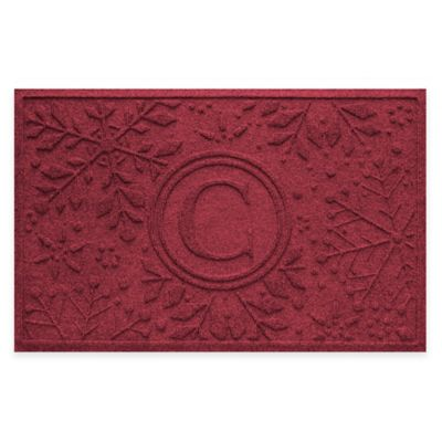 Bungalow Flooring Weather Guard™ Snowflake 23-Inch x 36-Inch Holiday Door Mat in Red/Black