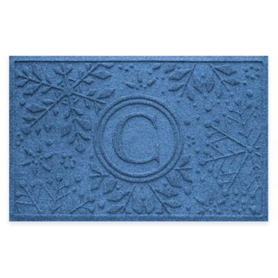 Bungalow Flooring Weather Guard™ Snowflake 23-Inch x 36-Inch Holiday Door Mat in Medium Blue