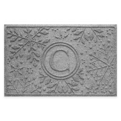 Bungalow Flooring Weather Guard™ Snowflake 23-Inch x 36-Inch Holiday Door Mat in Medium Grey