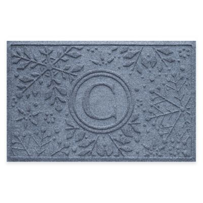 Bungalow Flooring Weather Guard™ Snowflake 23-Inch x 36-Inch Holiday Door Mat in Blue Stone