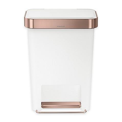 buy simplehuman 45 liter plastic rectangular step trash can with liner pocket in rose from bed. Black Bedroom Furniture Sets. Home Design Ideas