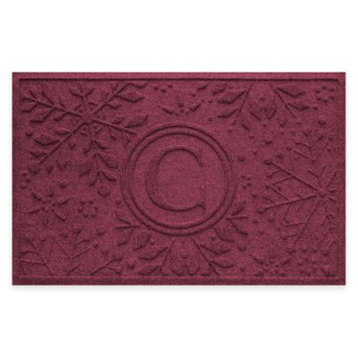 Bungalow Flooring Weather Guard™ Snowflake 23-Inch x 36-Inch Holiday Door Mat in Bordeaux