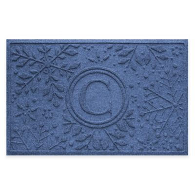Bungalow Flooring Weather Guard™ Snowflake 23-Inch x 36-Inch Holiday Door Mat in Navy