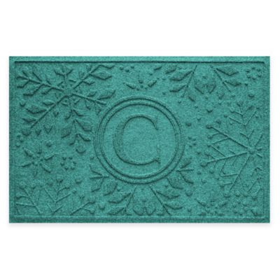 Bungalow Flooring Weather Guard™ Snowflake 23-Inch x 36-Inch Holiday Door Mat in Aquamarine