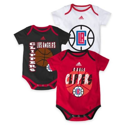 """NBA Los Angeles Clippers """"3 Point Spread"""" Size 0-3M Bodysuit Set (Set of 3)"""