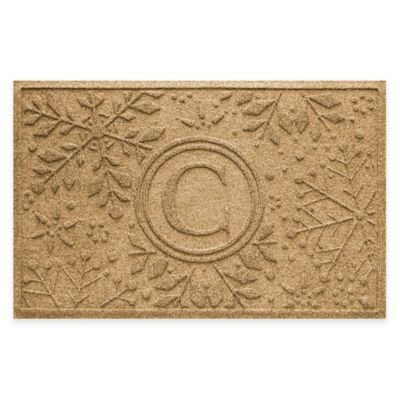 Bungalow Flooring Weather Guard™ Snowflake 23-Inch x 36-Inch Holiday Door Mat in Gold