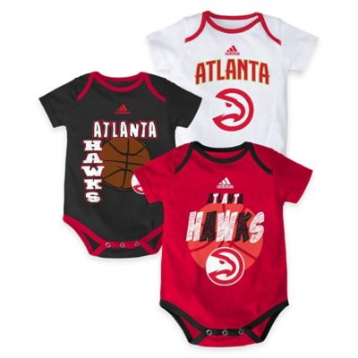 "NBA Atlanta Hawks ""3 Point Spread"" Size 0-3M Bodysuit Set (Set of 3)"
