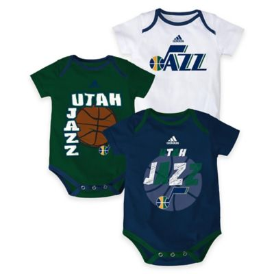 "NBA Utah Jazz ""3 Point Spread"" Size 0-3M Bodysuit Set (Set of 3)"