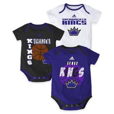 "NBA Sacramento Kings ""3 Point Spread"" Size 0-3M Bodysuit Set (Set of 3)"