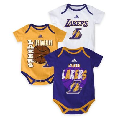 "NBA Los Angeles Lakers ""3 Point Spread"" Size 6-9M Bodysuit Set (Set of 3)"