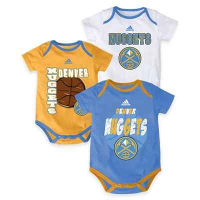 "NBA Denver Nuggets ""3 Point Spread"" Size 0-3M Bodysuit Set (Set of 3)"