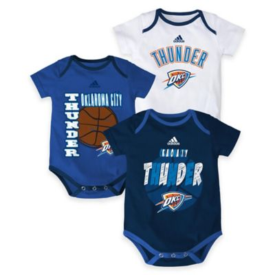 "NBA Oklahoma City Thunder ""3 Point Spread"" Size 0-3M Bodysuit Set (Set of 3)"