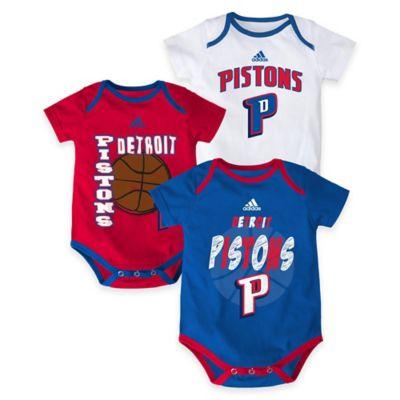 "NBA Detroit Pistons ""3 Point Spread"" Size 0-3M Bodysuit Set (Set of 3)"